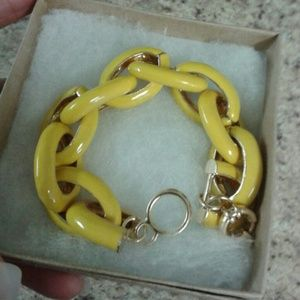 Yellow Enamel Link Bracelet