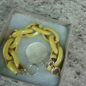 Yellow Enamel Link Bracelet with Disc Charm