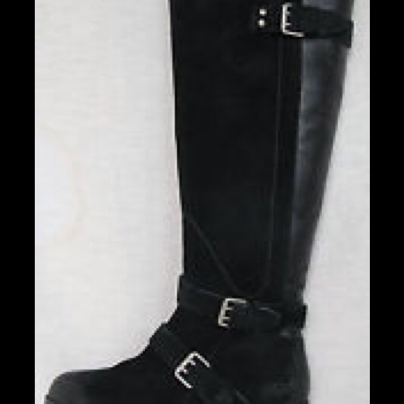 f60f2606fc UGG CYDNEE TALL BLACK LEATHER SUEDE RIDING BOOTS! M 54af2bbcdd7b7f27190808dc