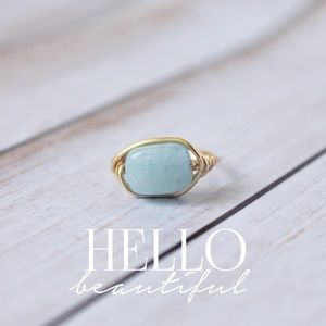 LucyMint Jewelry - Blue Amazonite Gemstone Wire Wrapped Ring