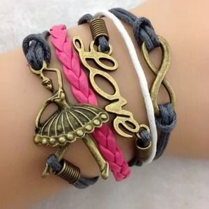 Baller Girl Infinity Love Leather Charm Bracelet