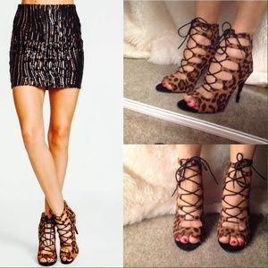 Cheetah Lace Up Heels
