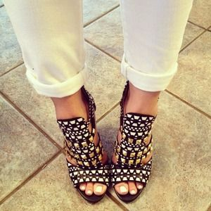 Black and White Studded and Woven Zara Sandal
