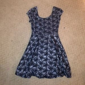 Black Floral Skater Dress(small)