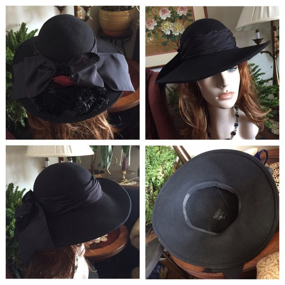 Bollman Hat Co. Accessories - VTG BOLLMAN WHITTALL   SHON Black Felt Wool  Hat 92f5bc5df027
