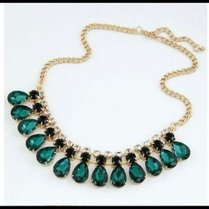 Emerald Gold Statement Necklace