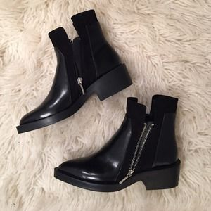 Dual Zipper Black Ankle Bootie