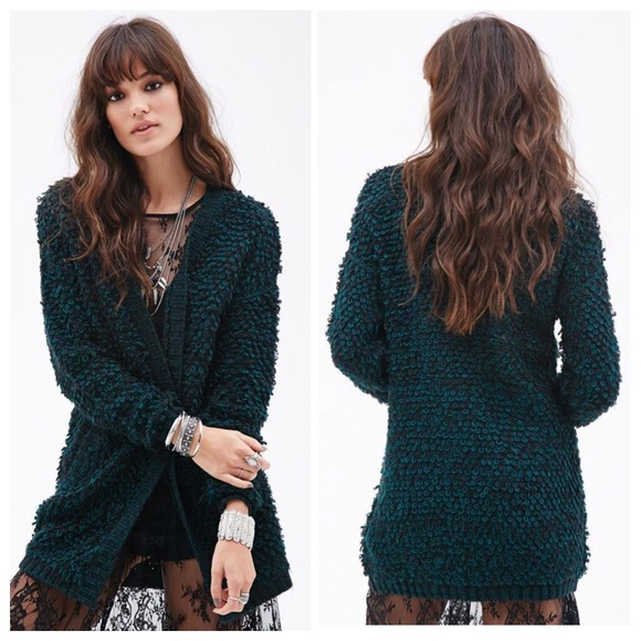 Forever 21 - Black Fuzzy Two-Tone Loop Knit Open Cardigan from ...
