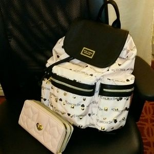 Pastel Pink Betsey Johnson Backpack Purse & Wallet
