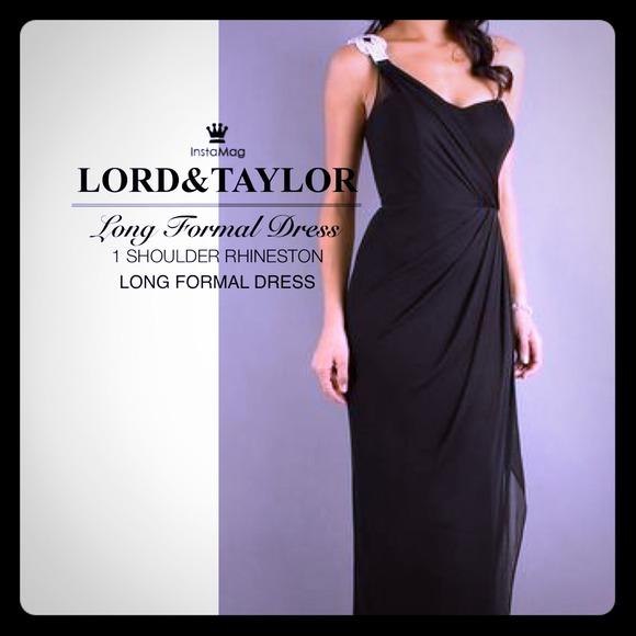 Lord Taylor Dresses 1 Swarovski Shoulder Long Black Evening Gown