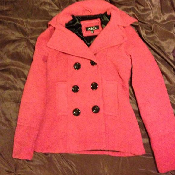 Rue 21 - Rue 21 Pink Peacoat Jacket Black Inside Size Small From Tiffanyu0026#39;s Closet On Poshmark
