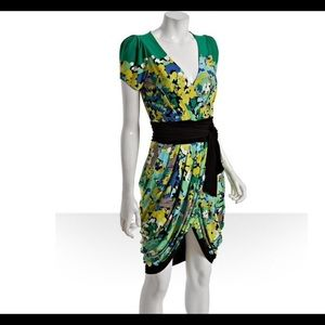 BCBG Max Azria floral vneck dress with tulip skirt