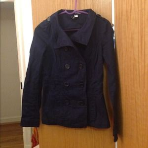 Navy double breasted peacoat style cotton jacket