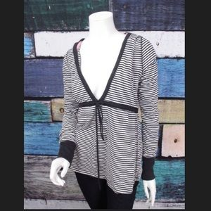 Black and white striped baby doll top with hood