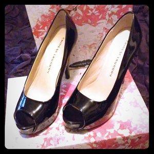 Black Patent Chinese Laundry Peep Toe Heels
