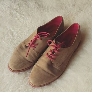 Tan Oxfords with Pink Laces