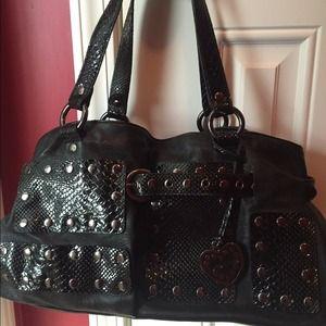 Black Bebe faux snakeskin purse