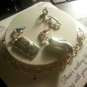 Jewelry - New silver plated bracelet and 3 charms!