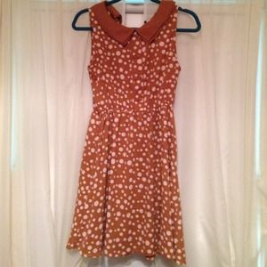 Forever 21 brown and pink polk-a-dot dress