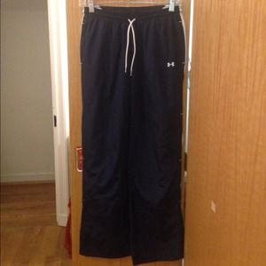 Navy Underarmour track pants with inner lining