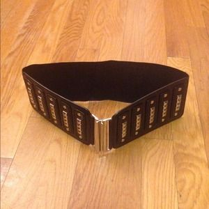 Black studded cinch waist belt