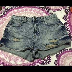 Topshop High Waisted Acid Wash Distressed Shorts