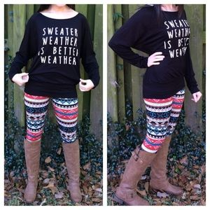 LAST ONE!! Black Sweater Weather Long Sleeve Tee