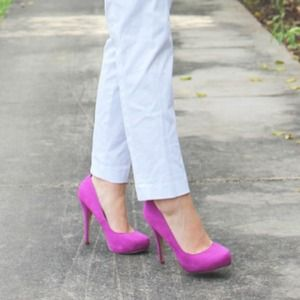 Bright Fuchsia Purple Suede Pumps