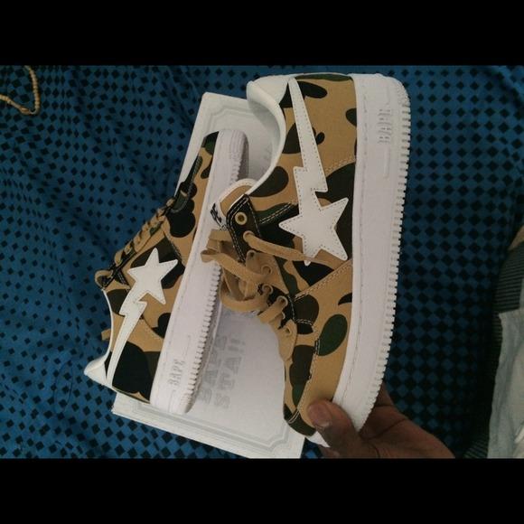 Bape Shoes   Yellow Camo Bapes   Poshmark