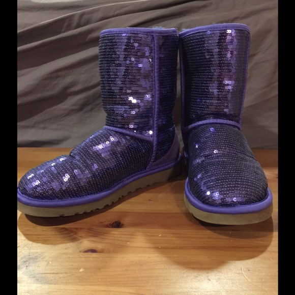 64 Off Ugg Boots Purple Glitter Ugg Boots From Katy S