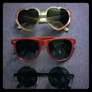 Sunglasses set of 3 hippie heart and red