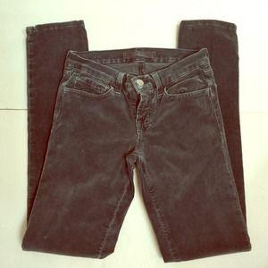EUC J Brand Dark Gray Skinny Jeans Cords 25