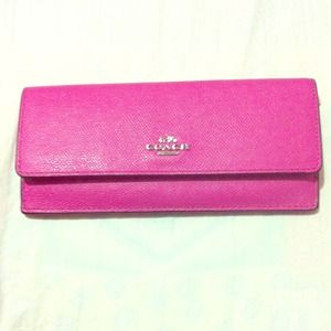 Coach leather slim long wallet; fuschia.