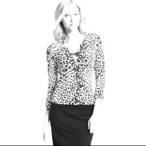 Black and white leopard print cardigan.