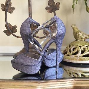 Adrienne Maloof Shoes - Pewter stiletto heels