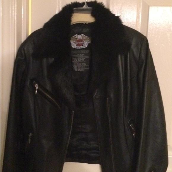 ad2abd79d Harley Davidson Leather Jacket Rabbit Fur Collar.