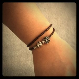 Pandora double wrap bracelet with charm!