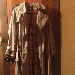 Olive Burberry trench coat