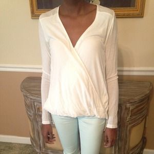 Cream Long-Sleeve Crossover Top