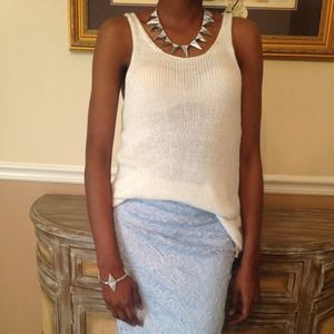 Cream Knit Tank Top & Sky Blue Lace Skirt