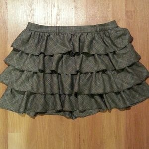 J. CREW Grey Ruffled Mini Skirt size 8