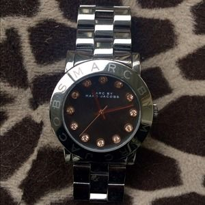 Marc Jacobs gunmetal watch w/ rose gold stones
