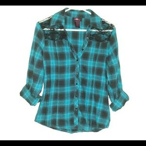 Teal/ black flannel top