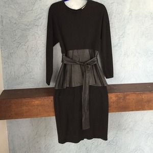 Wool and leather dress