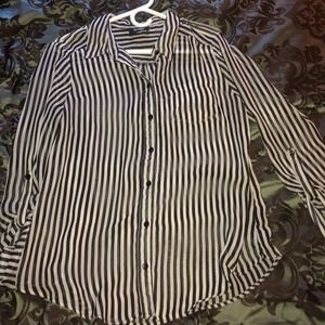 Black and white vertical stripe button up.