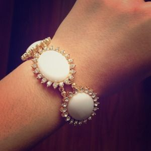 Oval White Paved Gold Bracelet!
