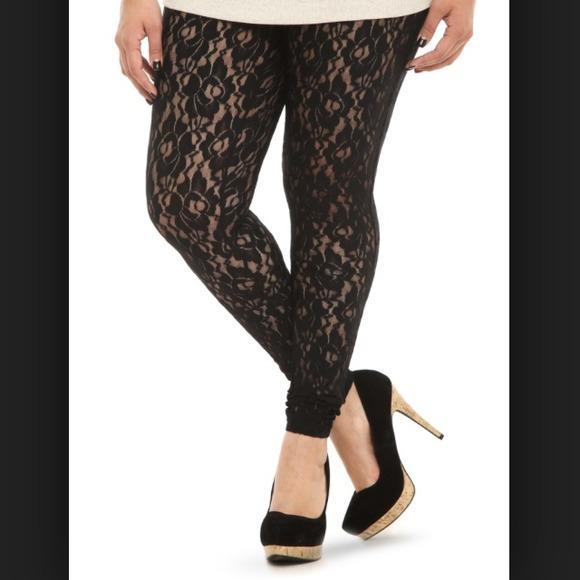 01399a182f7 Black Lace Full Length Leggings 4x