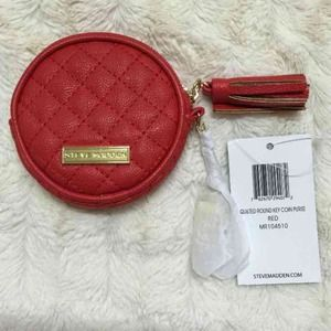 Steve Madden red Quilt round key coin purse