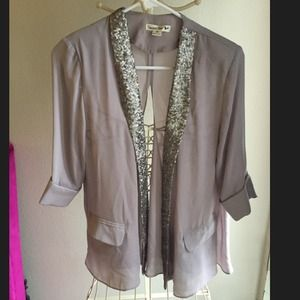 Sequin lapel sheer blazer