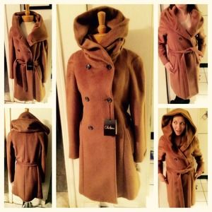 REDUCED! Cole Haan Hooded Camel Alpaca Wool Coat!